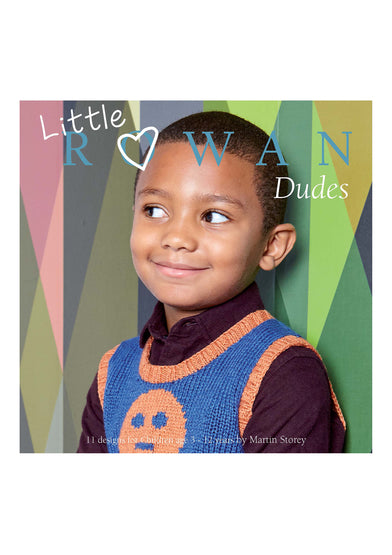 Cover shot of Rowan Little Dudes book. Boy wearing a knit vest in blue with orange ribbing and an orange intarsia face on the body