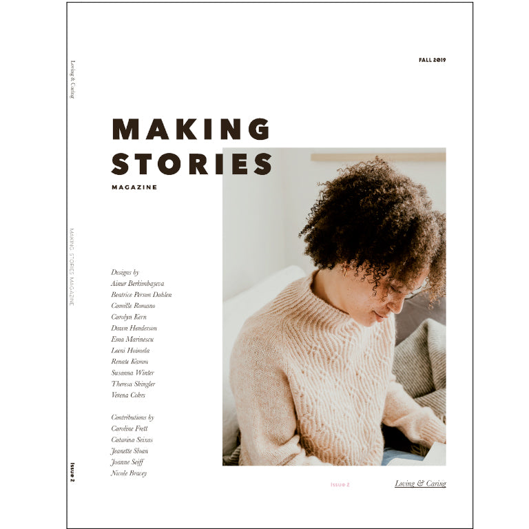 cover photo of making stories issue 2 with tue neck knit sweater in cream with chain texture detail on body