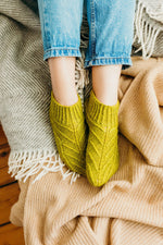 chartreuse patterned slipper socks