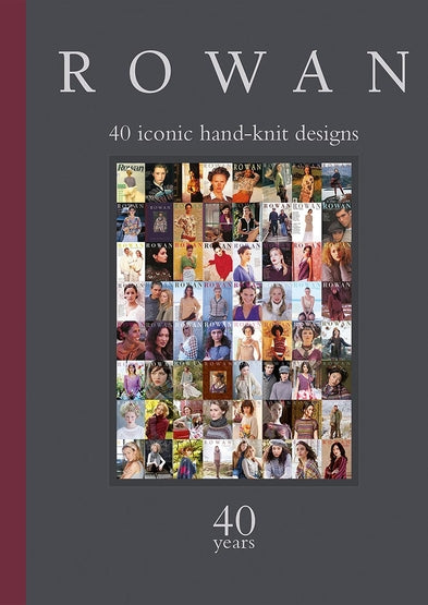 cover shot of Rowan 40 iconic hand knit designs book. Rectangular collage of many rowan covers