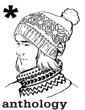 line drawing of a woman wearing a nordic patterned hat and cowl in black and white