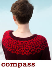 woman wearing a burgundy knit sweater with a red colourwork yoke