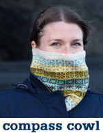 woman wearing a cream cowl with a mustard, grey, and light blue colourwork pattern