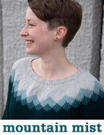 woman wearing a mountain-patterned yoke knit sweater