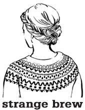 strange brew logo with sketched woman wearing a patterned yoke sweater