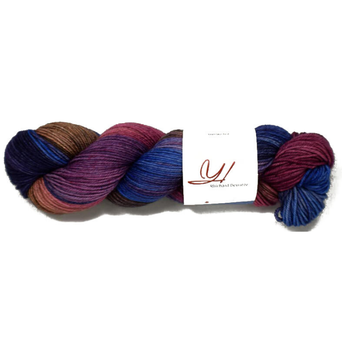 blue, purple, and brown variegated skein of yarn