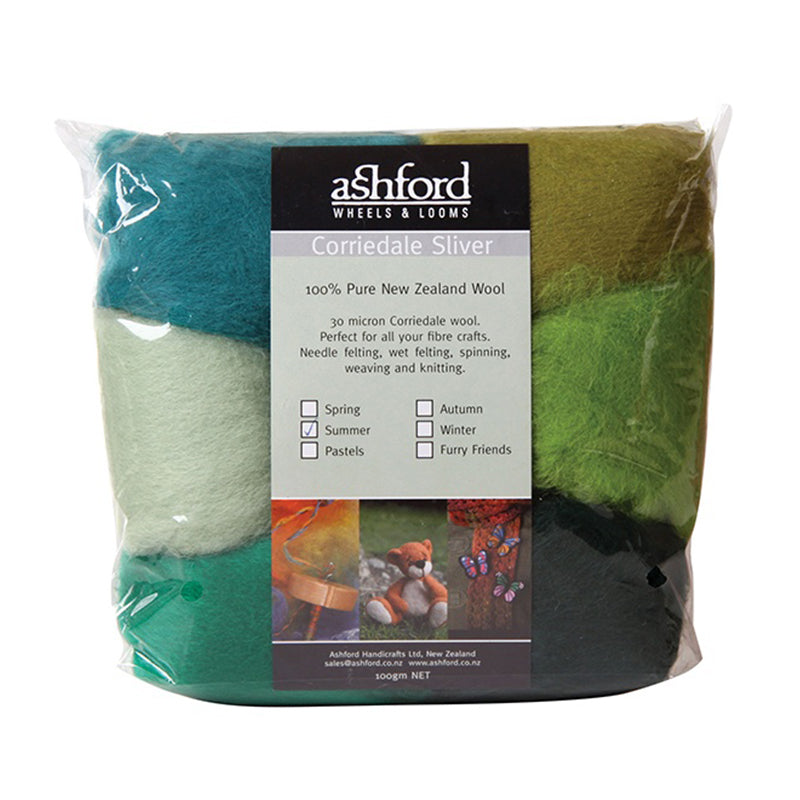 Ashford Corriedale Colour Theme Sliver Pack - 100g