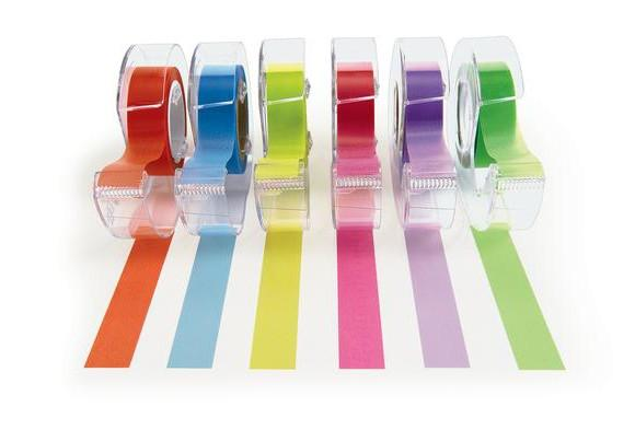 6 rolls of highlighter tape showing colours in orange, blue, yellow, pink, purple, and green