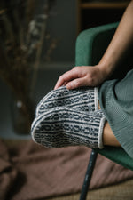 light and dark grey colourwork sock slippers