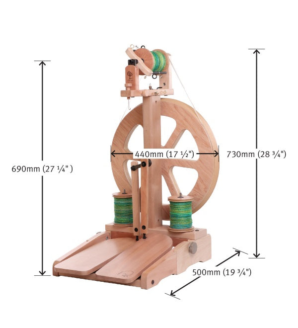 kiwi spinning wheel with measurements