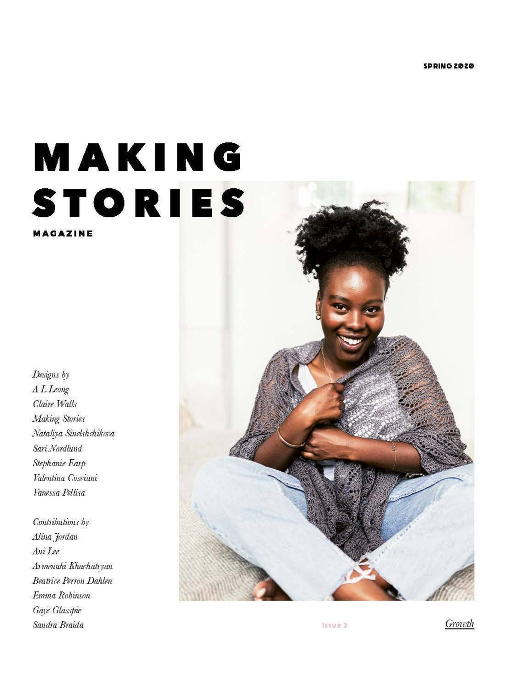 Cover shot of making stories issue three. Woman sitting wearing a grey lace shawl