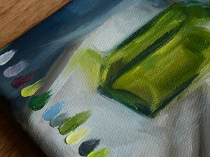 "Green Jar Study || 5x7"" Original Oil Painting on Canvas"
