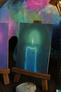 Halloween Candle Magenta or Teal || Mini Oil Painting on Panel || Display Easel Included