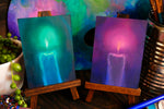 Load image into Gallery viewer, Halloween Candle Magenta or Teal || Mini Oil Painting on Panel || Display Easel Included