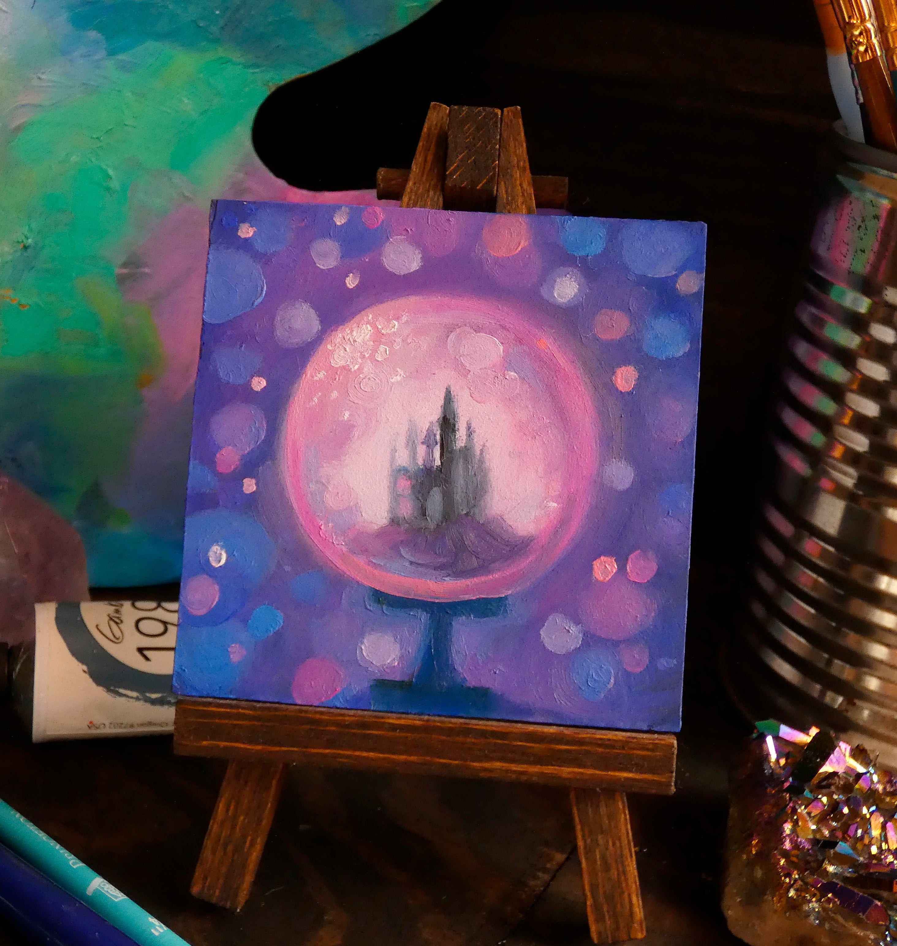 Bubble-Gum Dreams Castle || Mini Oil Painting on Panel || Display Easel Included