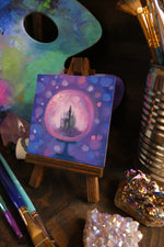Load image into Gallery viewer, Bubble-Gum Dreams Castle || Mini Oil Painting on Panel || Display Easel Included