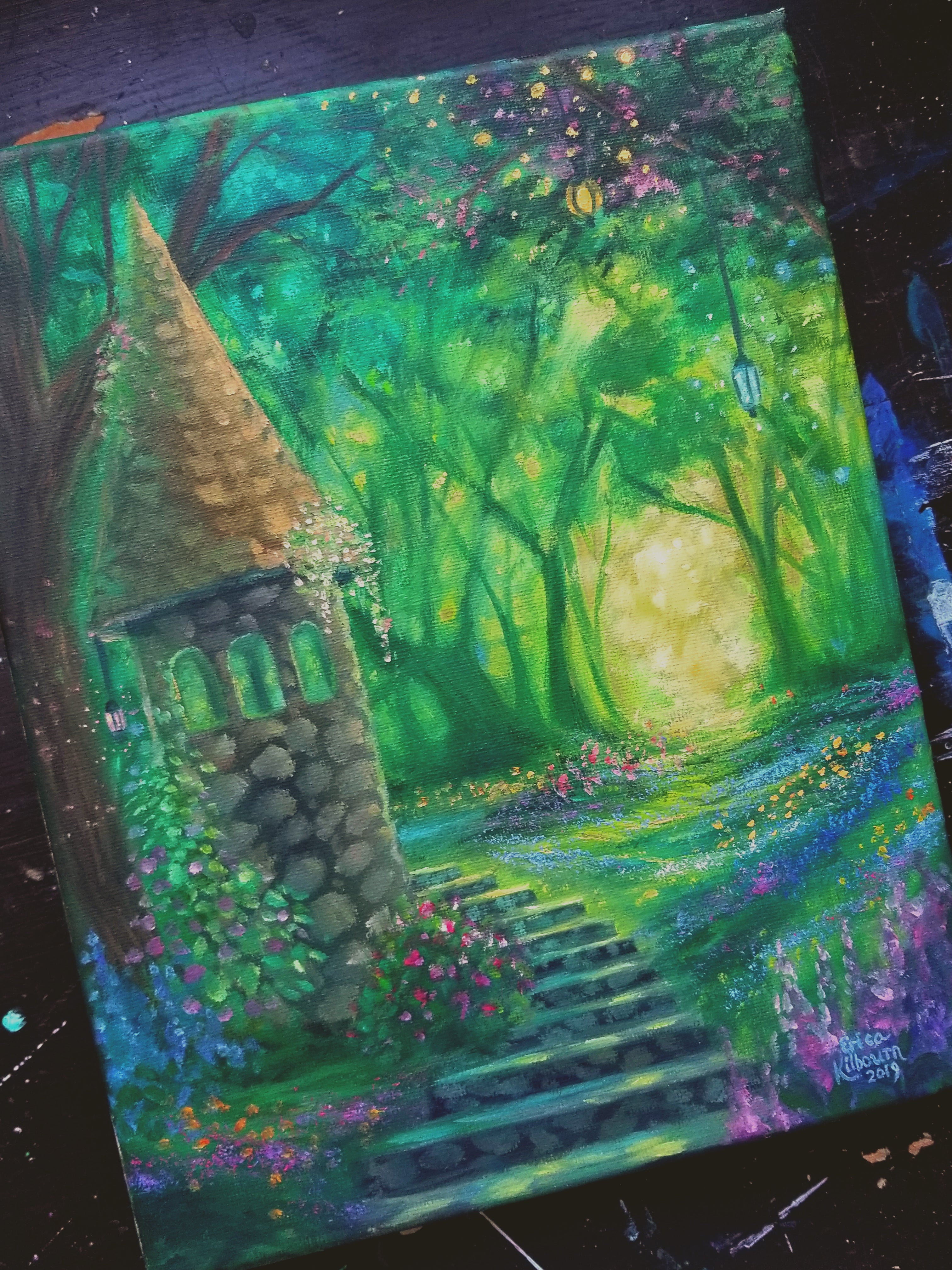 "Light of the Forest || 8x10"" Original Oil Painting of a Fantasy Garden Scene"