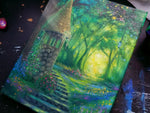 "Load image into Gallery viewer, Light of the Forest || 8x10"" Original Oil Painting of a Fantasy Garden Scene"