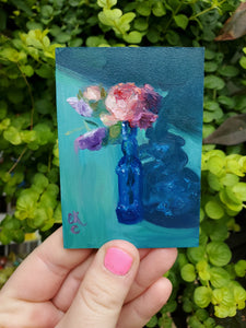 Floral Study in Blue || Mini Oil Painting on Panel || Display Easel Included