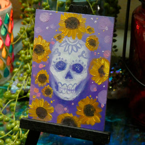 Pink or Purple Dia De Las Muertas Skulls || Mini Oil Painting on Panel || Display Easel Included