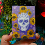 Load image into Gallery viewer, Pink or Purple Dia De Las Muertas Skulls || Mini Oil Painting on Panel || Display Easel Included