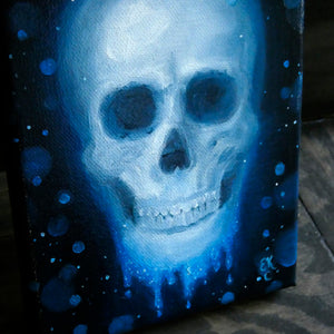 "Skull in Blue || 5x7"" Original Oil Painting on Canvas"