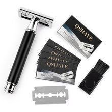 Load image into Gallery viewer, Qshave Safety Razor Black Handle and 5 DE blades **