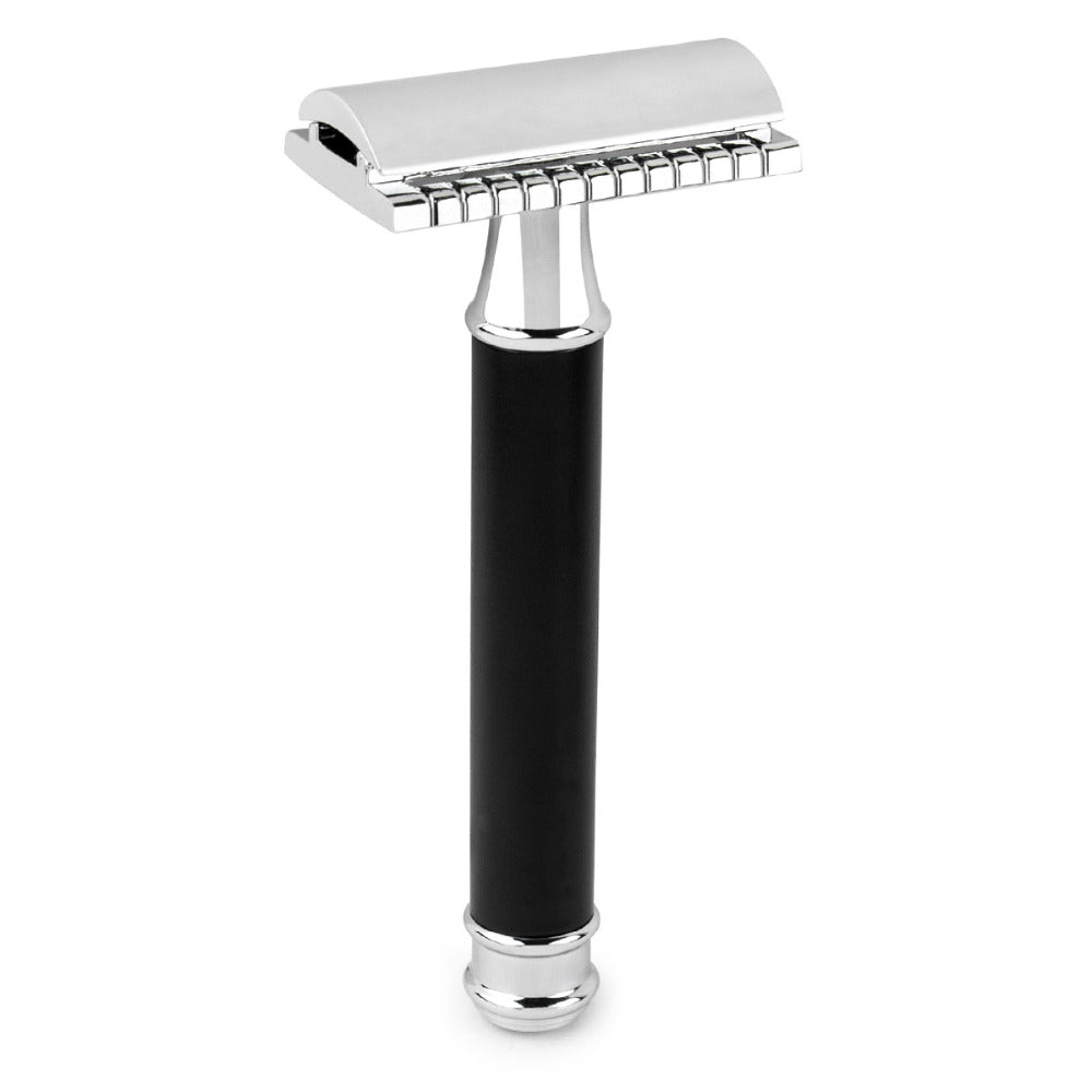 Qshave Safety Razor Black Handle and 5 DE blades **
