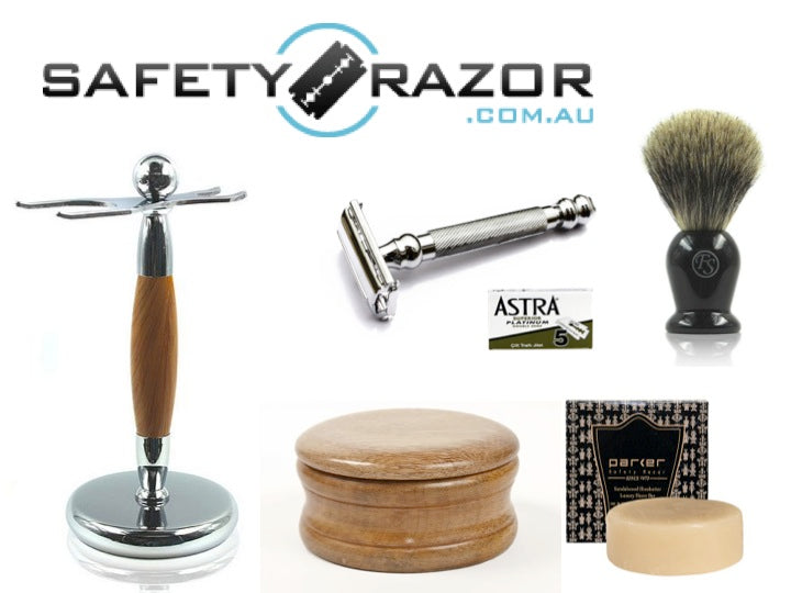 Parker 99R Safety Razor, Blades, Stand, Wooden Bowl, Soap and Badger Hair Brush