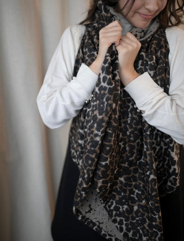 Cheetah Print/black Shawl