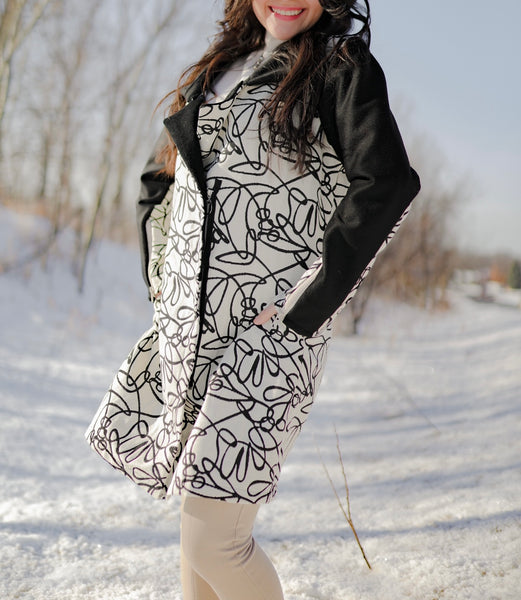 Long Coat - Black & Cream