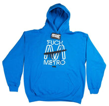 Load image into Gallery viewer, F!!!k Metro Trains Blue Hoodie White Print