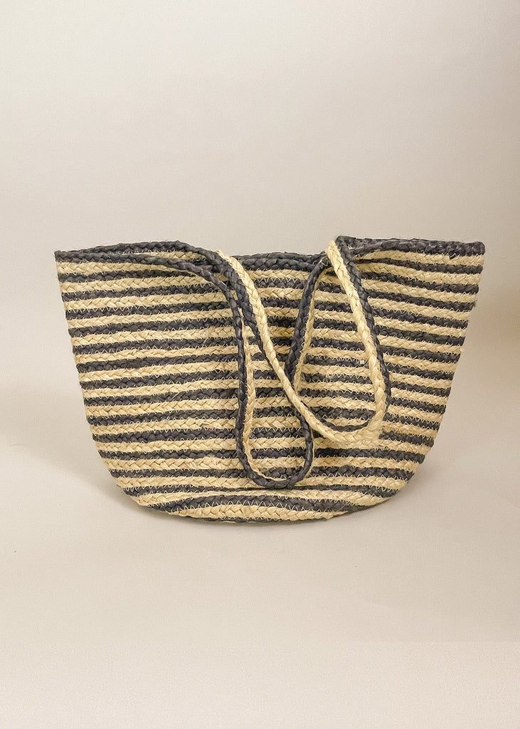 Billi Striped Jute Tote Bag