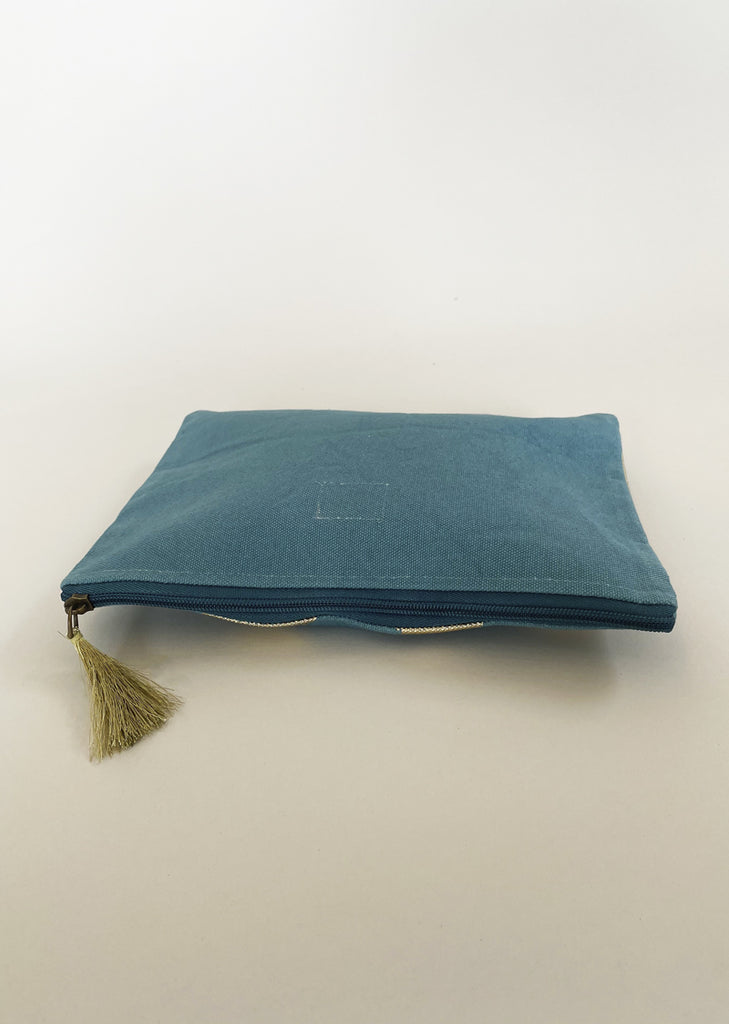 Reverse view of aqua pouch with plain back.