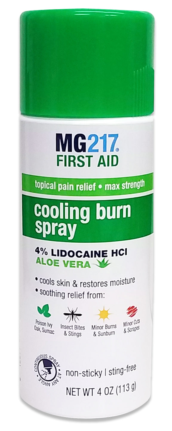 MG217 Cooling Burn Spray Maximum Strength, 4% Lidocaine formula with Aloe Vera