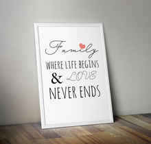 Load image into Gallery viewer, Family, Where Life Begins and Love Never Ends A4 Print