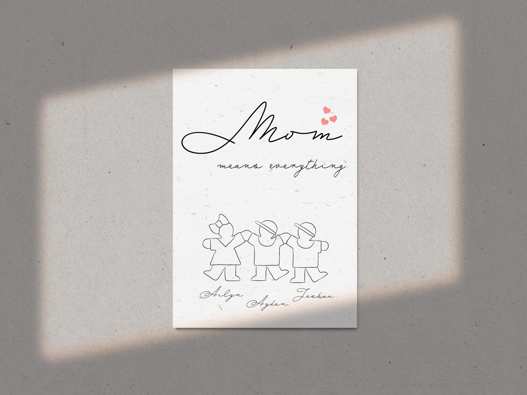 Mom Means Everything Customisable Print A4