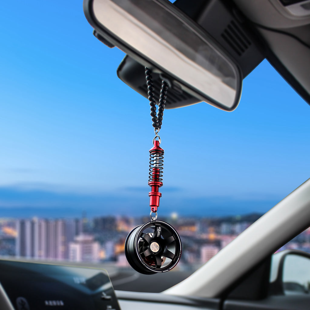 New Arrivals Car Mirror Pendant Car Interior Decoration Pendant Aluminum Wheel With Shock Absorber Ornament Hanging Accessories