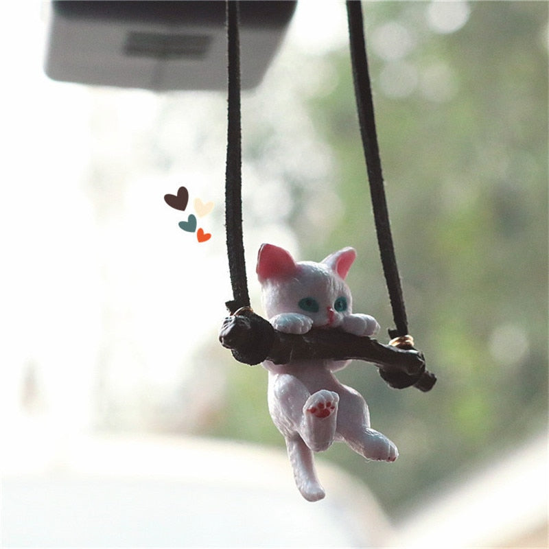 Car Pendant Creative Cute Branch Cat Rearview Mirror Pendant Car Interior Decoration For Girls Car Interior Accessories