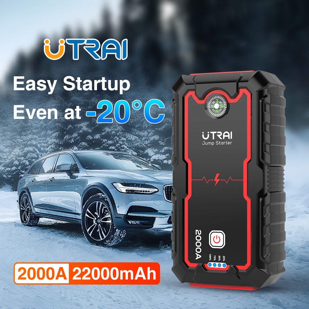 UTRAI Car Jump Starter Power Bank 22000mAh 2000A 12V Starting Device Portable Emergency Car Booster Auto Car Battery Charger Gas