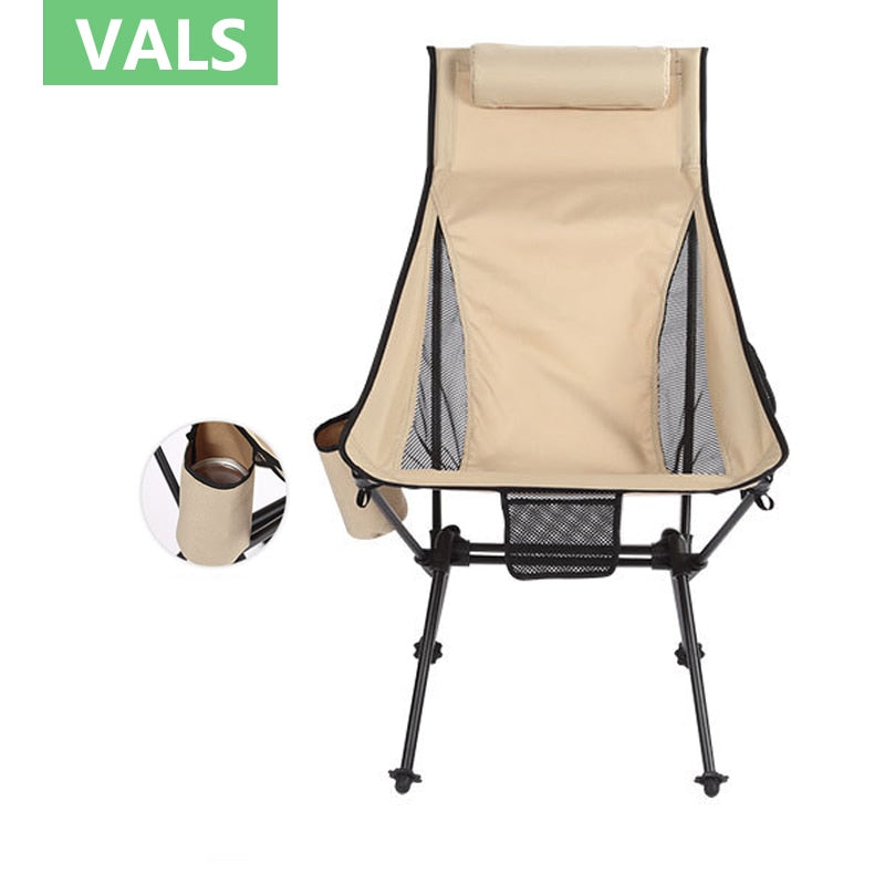 Ultralight Camp Chair  Outdoor Portable Folding Chairs with Carry Bag 150kg Capacity Moon Chair Camping Beach Chairs