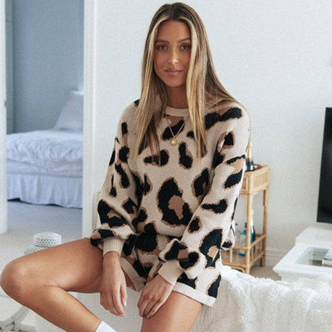 Leopard Knitted Two-Piece Set