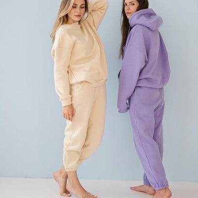 Fleece Hoodies Two Piece Set