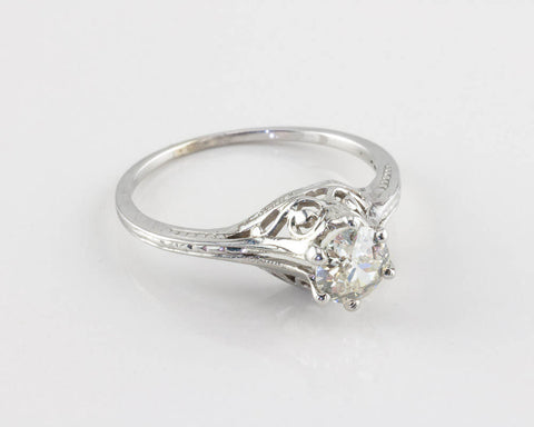 RESERVED - Vintage Edwardian Diamond Engagement Ring, 0.60 ct.