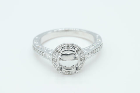 14k White Gold Vintage Inspired Diamond Halo Setting, 6.50 mm Head.