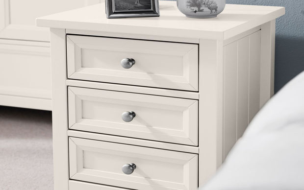 Maine 3 Drawer Bedside - Surf White