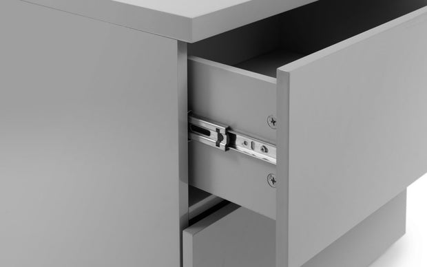 Monaco 2 Drawer Bedside Table - Grey High Gloss