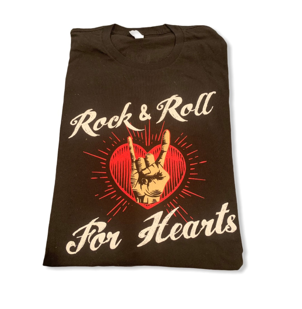 Rock and Roll for Hearts Black Tee