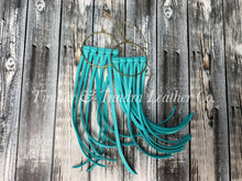 Load image into Gallery viewer, Light Turquoise Leather Fringe Earrings- Long Length