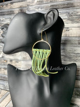Load image into Gallery viewer, Leaf Green Leather and Brass Fringe Earrings -Short Length